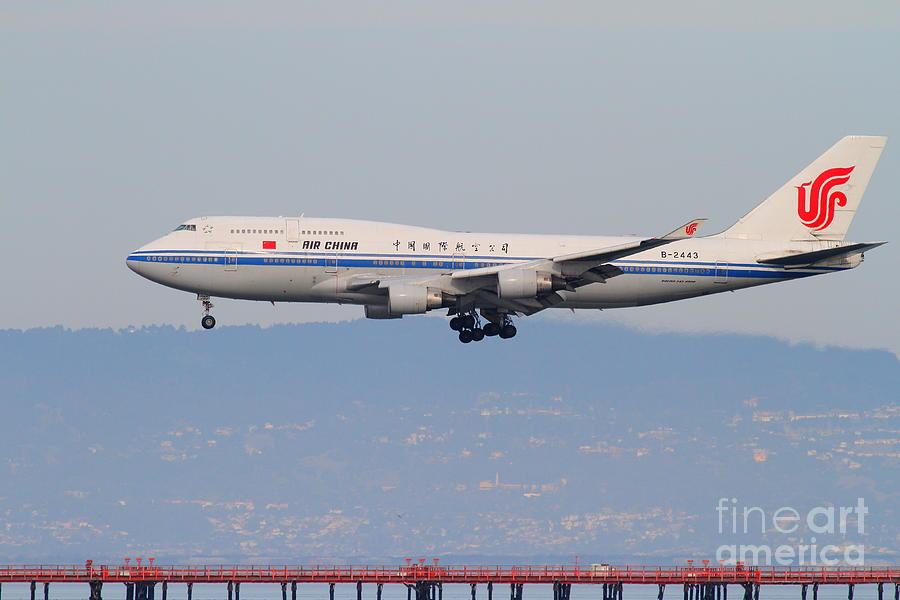 Air China Airlines Jet Airplane At San Francisco International Airport Sfo . 7d12272 Photograph  - Air China Airlines Jet Airplane At San Francisco International Airport Sfo . 7d12272 Fine Art Print