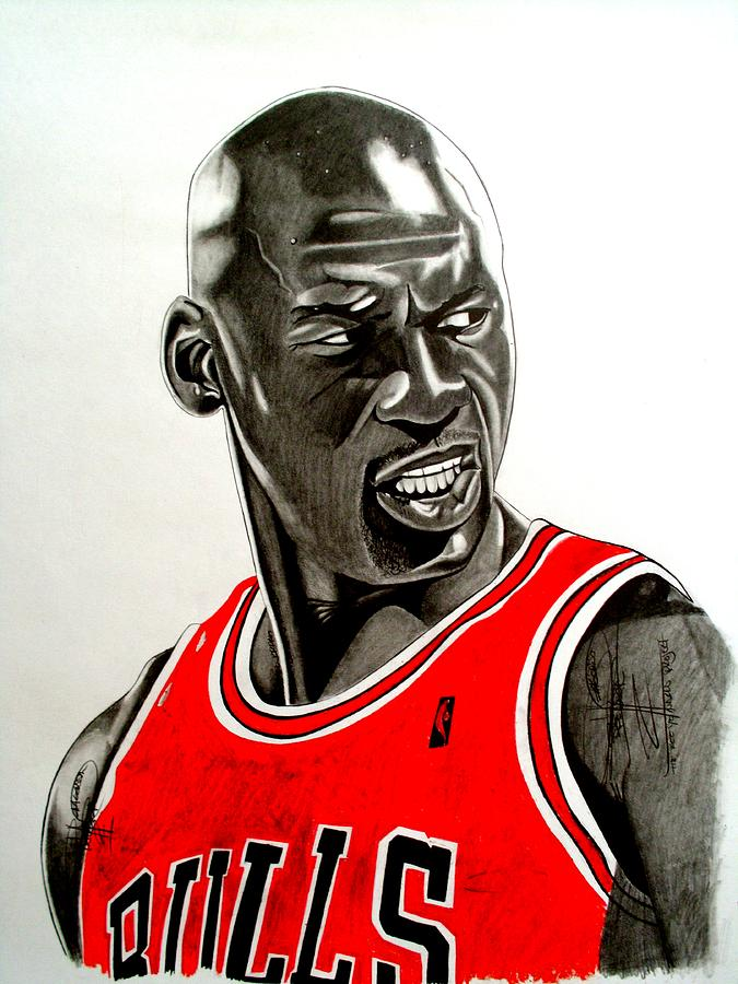 Air Jordan Raging Bull Drawing Drawing  - Air Jordan Raging Bull Drawing Fine Art Print