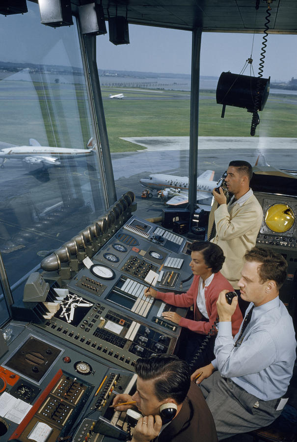 Air Traffic Controllers Direct Traffic Photograph