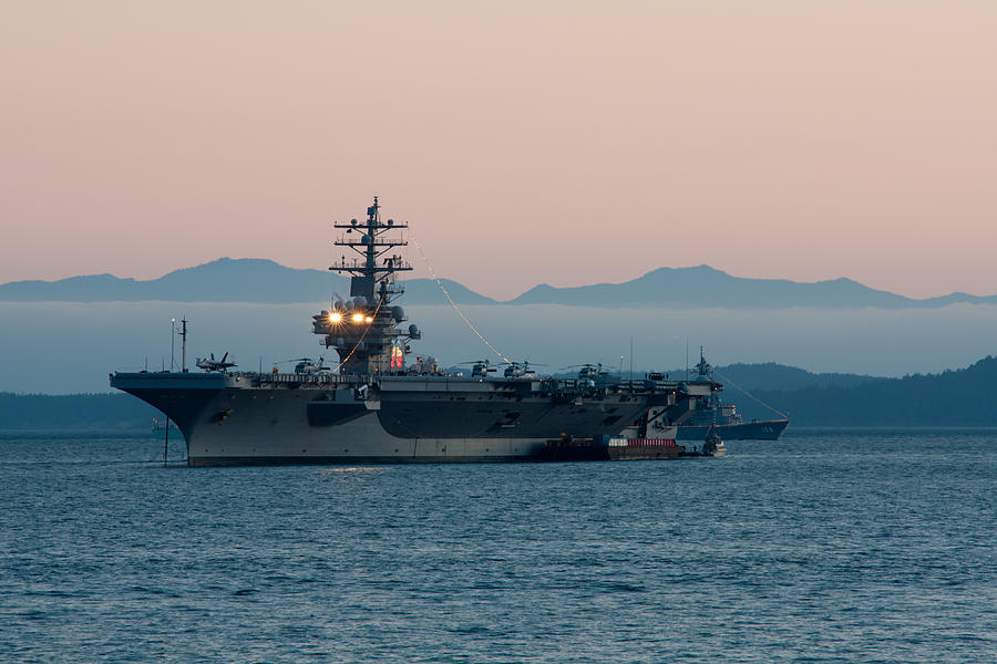 Aircraft Carrier At Sunset - Uss Ronald Reagan Photograph