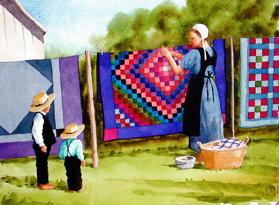 Airing The Quilts Painting  - Airing The Quilts Fine Art Print
