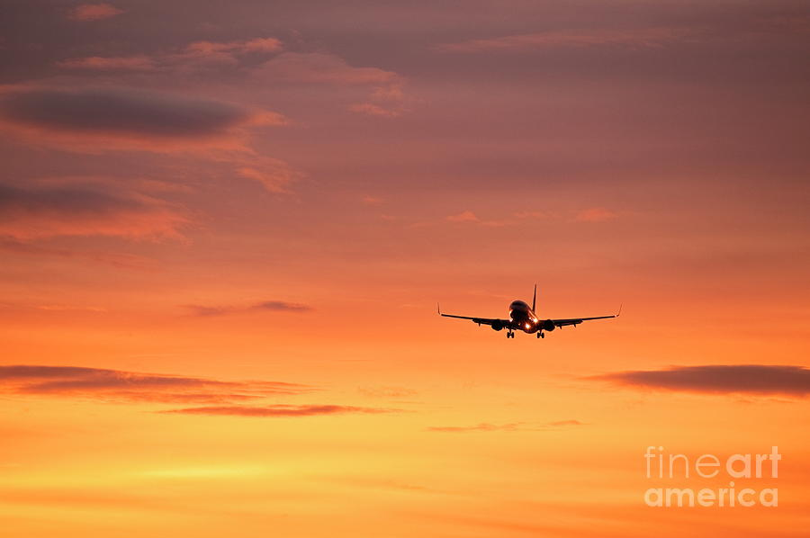 Airlpane In Flight Photograph  - Airlpane In Flight Fine Art Print