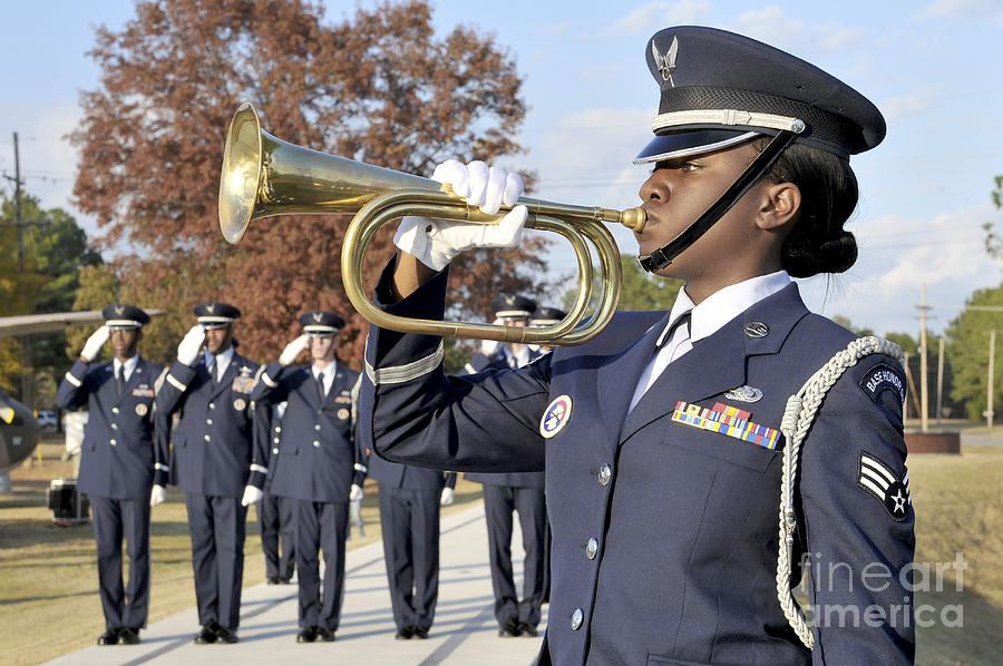 Airman Plays Taps During The Veterans Photograph  - Airman Plays Taps During The Veterans Fine Art Print