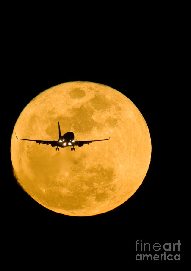 Airplane And Moon Photograph  - Airplane And Moon Fine Art Print