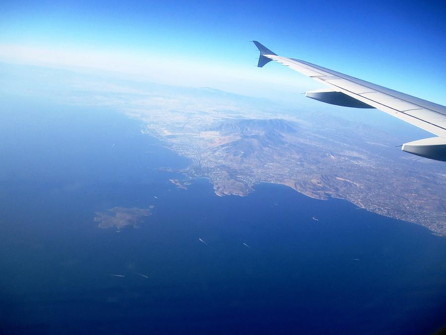 Airplane Wing Aerial View Mediterranean Sea South Of Greece On The Way Towards Athens Greece Photograph  - Airplane Wing Aerial View Mediterranean Sea South Of Greece On The Way Towards Athens Greece Fine Art Print