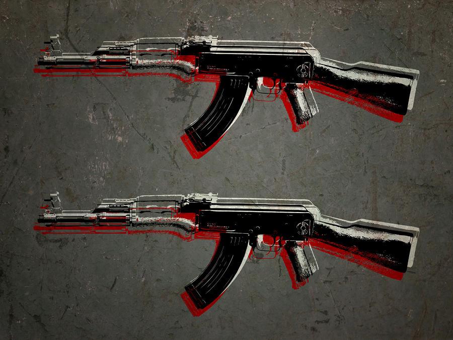 Ak47 Assault Rifle Pop Art Digital Art