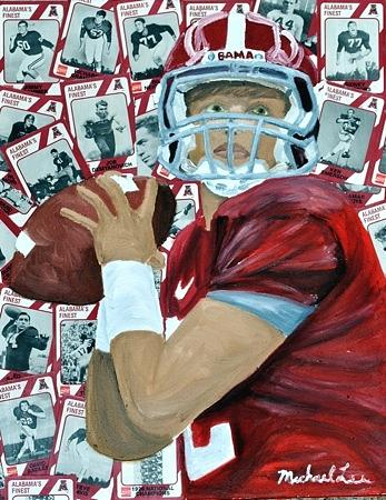 Alabama Painting - Alabama Quarterback by Michael Lee