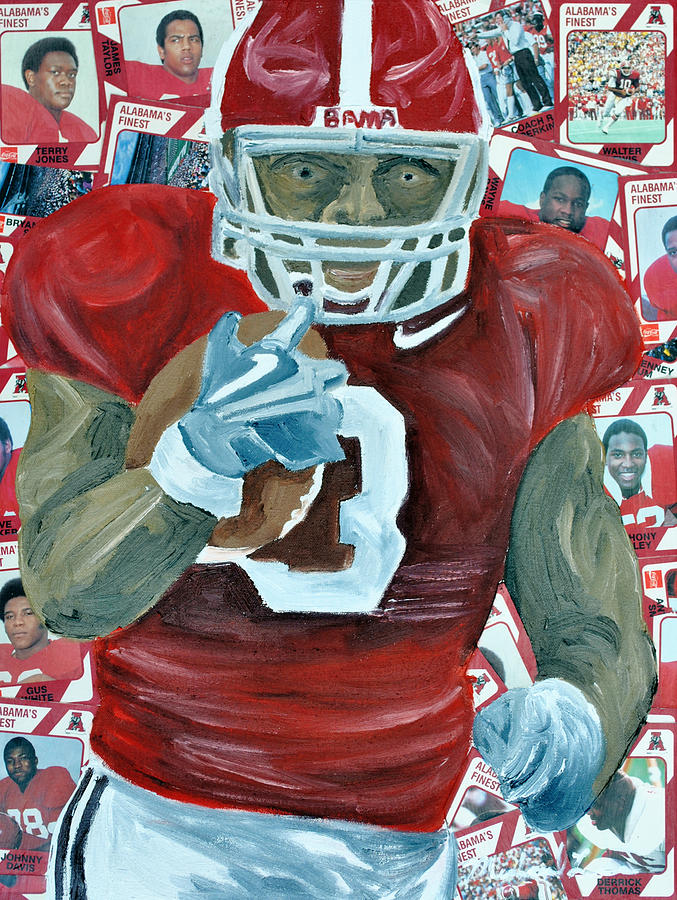 Football Painting - Alabama Running Back by Michael Lee