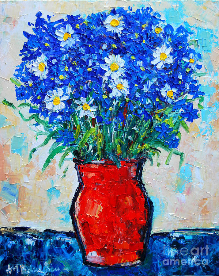 Albastrele Blue Flowers And Daisies Painting