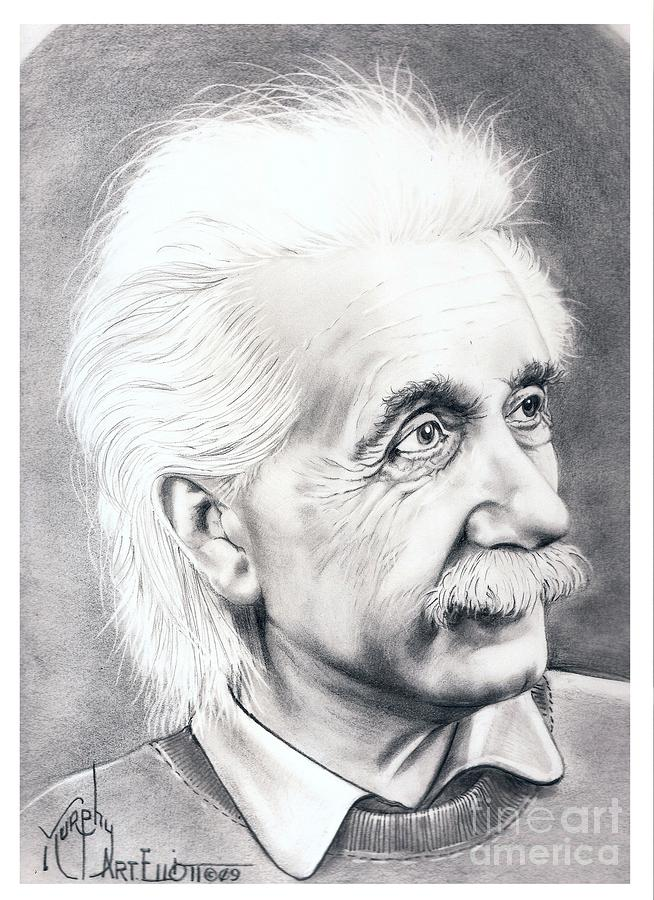 Albert Einstein  Drawing  - Albert Einstein  Fine Art Print