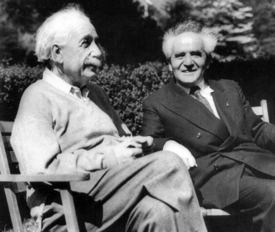 Albert Einstein With Israels Prime Photograph