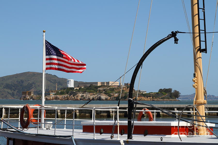 Alcatraz Island Through The Hyde Street Pier In San Francisco California . 7d14163 Photograph  - Alcatraz Island Through The Hyde Street Pier In San Francisco California . 7d14163 Fine Art Print