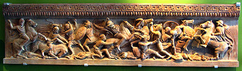 Alexander The Great Sacrophagus Wall Plaque Battle Scene Sculpture