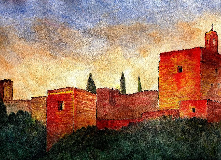 Alhambra At Sunset Painting  - Alhambra At Sunset Fine Art Print