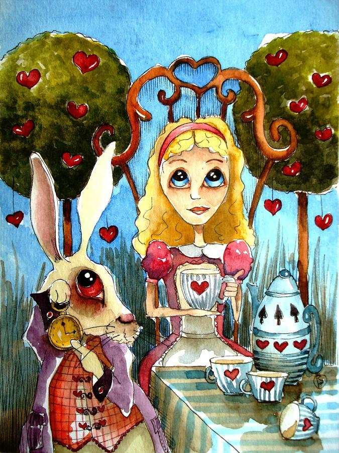 Alice And The Rabbit Having Tea... Painting  - Alice And The Rabbit Having Tea... Fine Art Print
