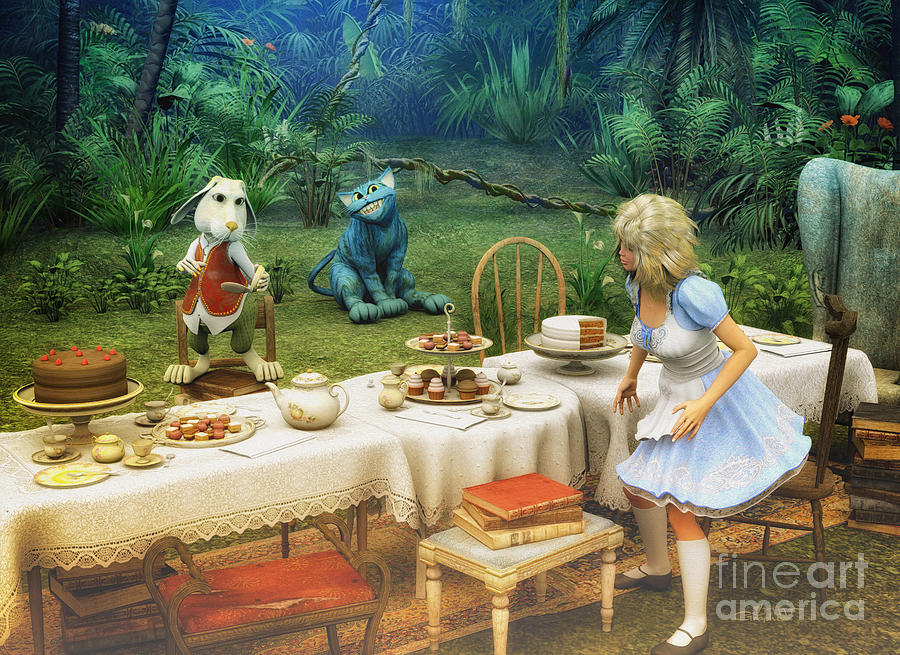 Alice In Wonderland Digital Art  - Alice In Wonderland Fine Art Print