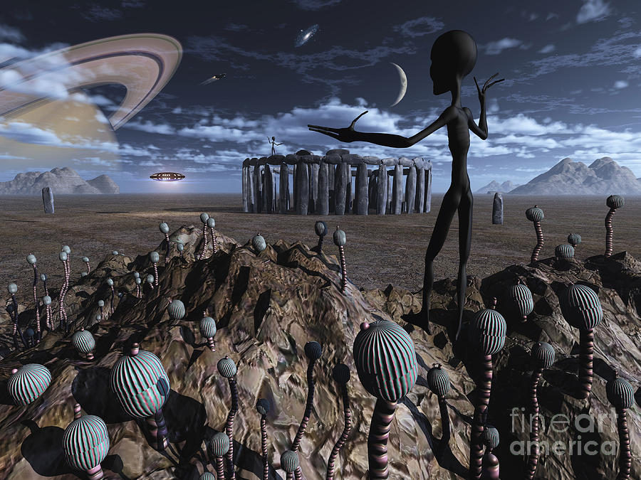 Alien Explorers On An Alien World Digital Art  - Alien Explorers On An Alien World Fine Art Print