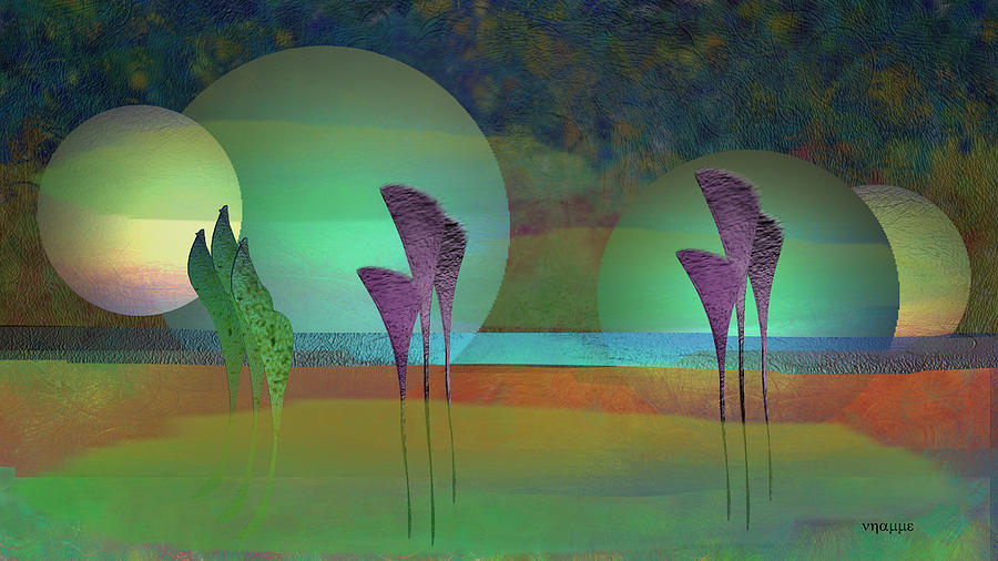 Alien Marsh Night Digital Art  - Alien Marsh Night Fine Art Print