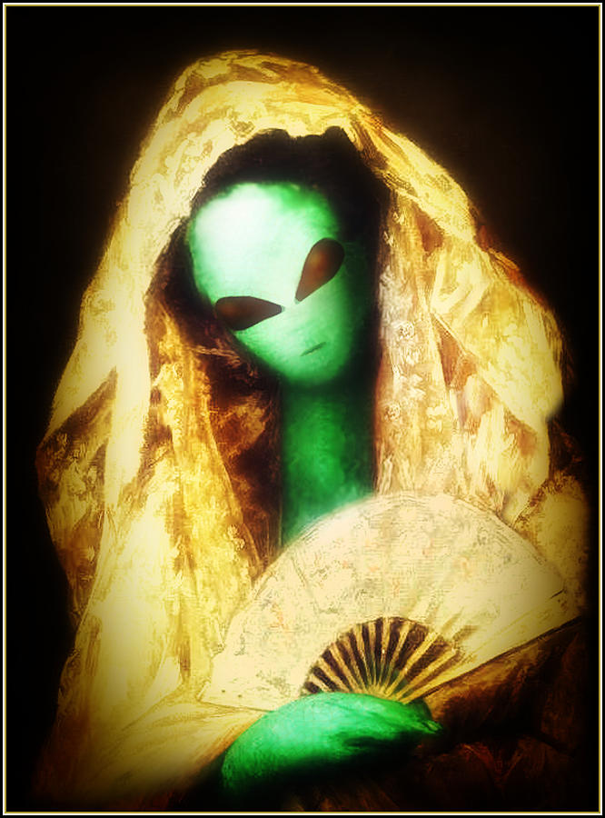 Alien Wearing Lace Mantilla Painting