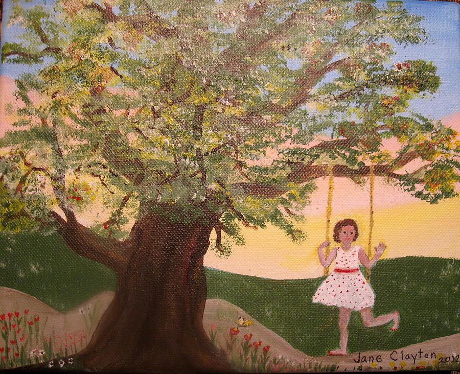 Oak Tree Swing Painting - Alison Sweet Alison by Jane Williams Clayton