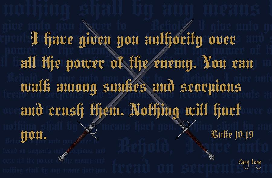 Bible Art Prints Digital Art - All Power by Greg Long