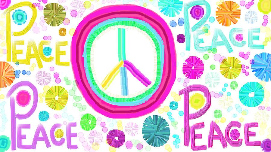 Peace Paz Paix Paxifica Pacifica Peaceful Color Baris Beke Pokoj Shalom Shanti Nagaya Paco Samaya Peace Frida Pace Mir Panpi Taika  Digital Art - All The Peace by Rosana Ortiz