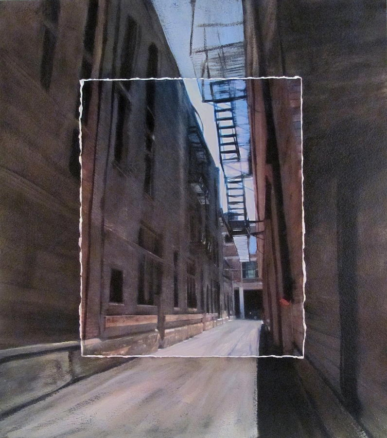Alley With Fire Escape Layered Mixed Media