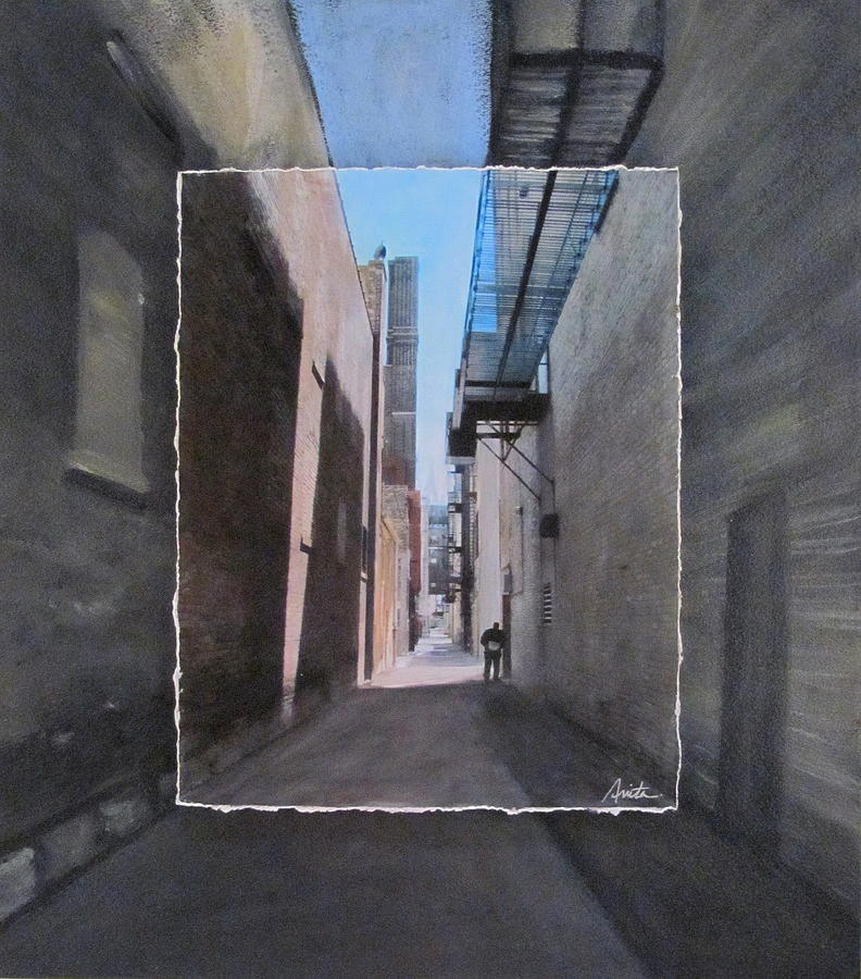 Alley With Guy Reading Layered Mixed Media