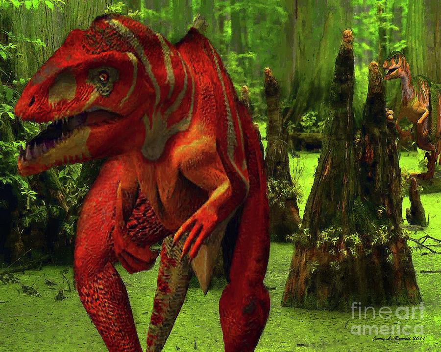 - allosaurus-hunted-by-raptor-jerry-l-barrett