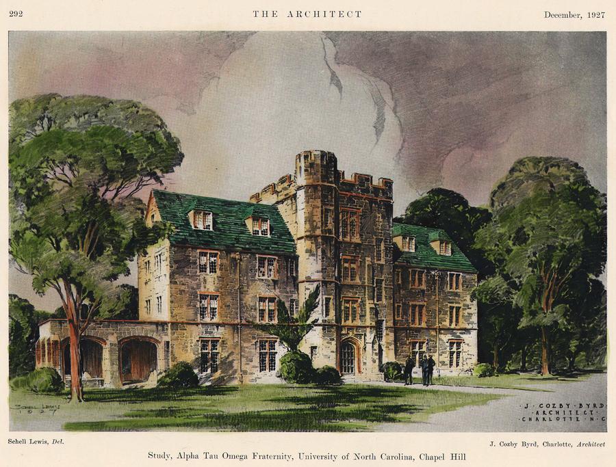 Alpha Tau Omega Fraternity. Chapel Hill Nc. 1927 Painting