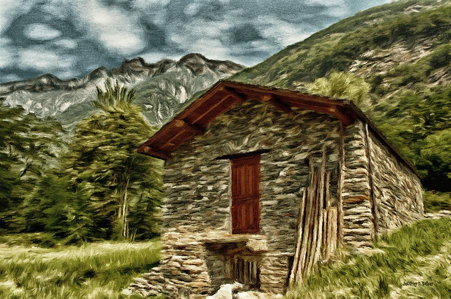 Alpine Ruins Painting