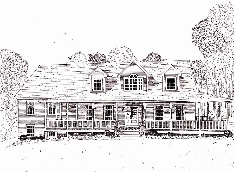 Architectural Drawing Drawing - Als House   by Michelle Welles