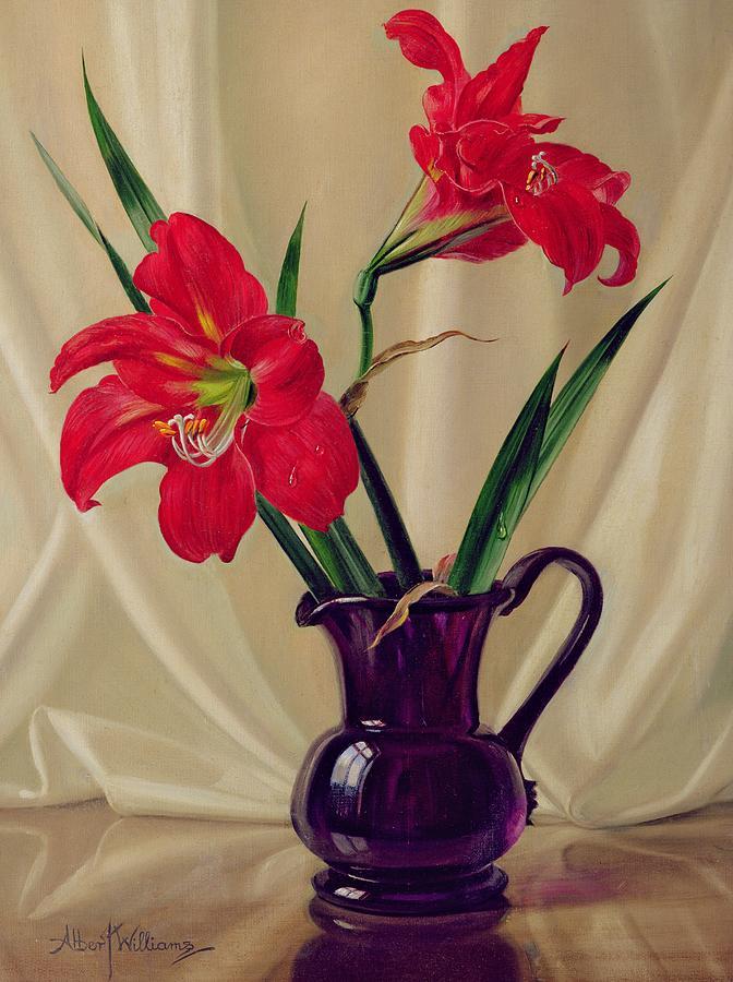 Flower; Lily; Red; Flower; Arrangement; Amaryllis; Lillie's; Jug; Glass Jug; Purple Jug; Flowers; Still Life; Floral;still Life Painting - Amaryllis Lillies In A Dark Glass Jug by Albert Williams