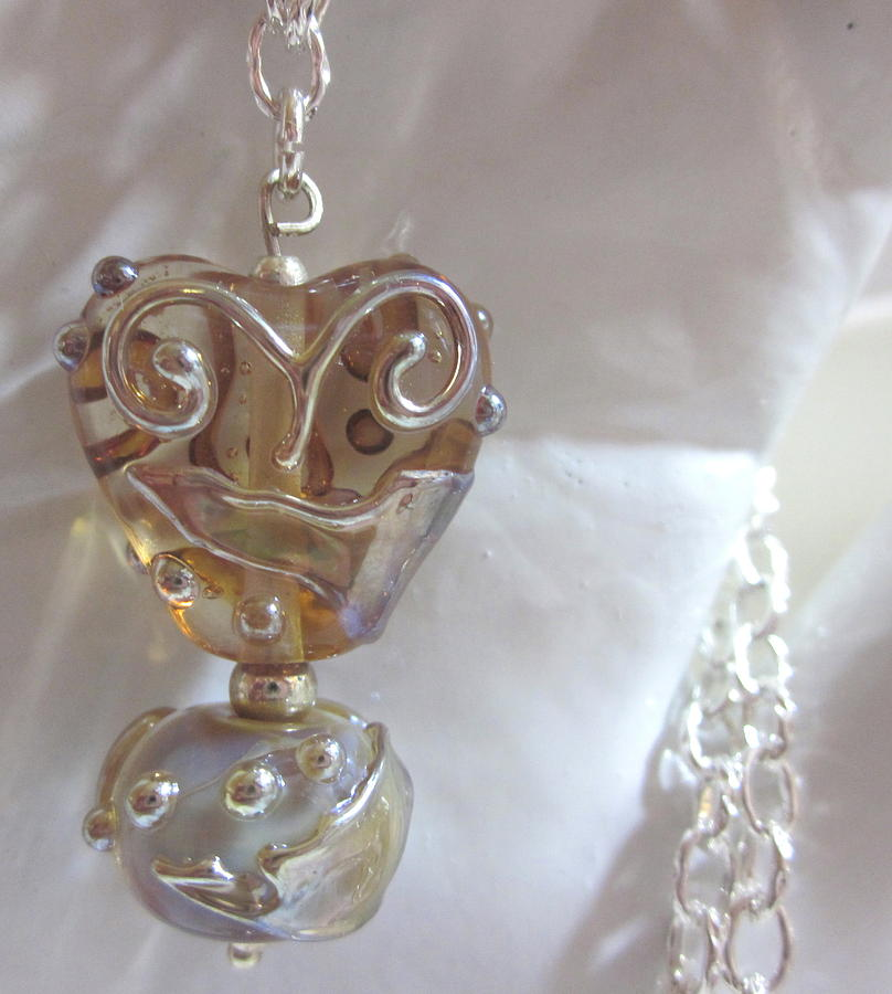 Amber Heart Necklace Jewelry