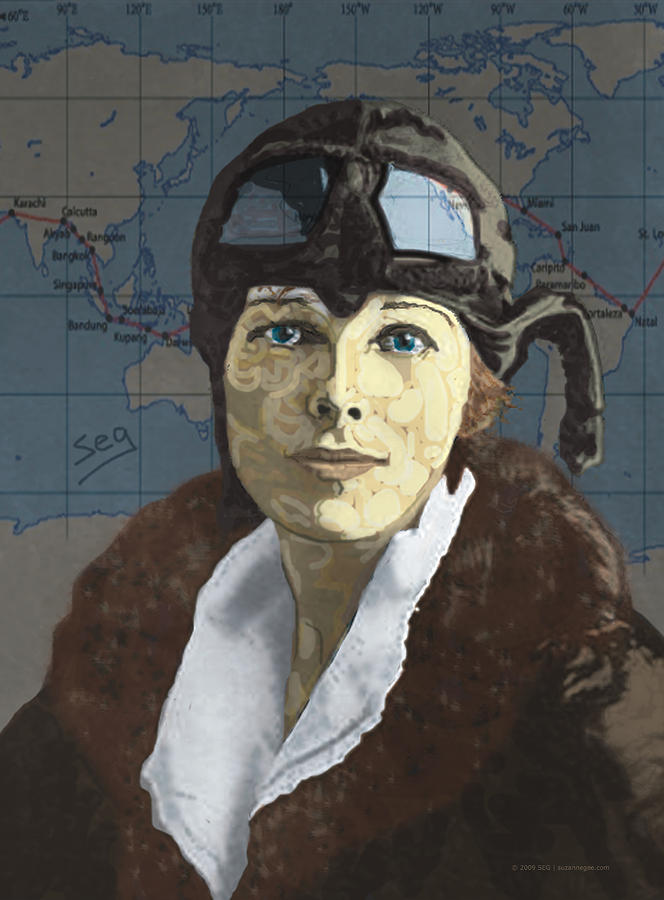 Amelia Earhart Painting  - Amelia Earhart Fine Art Print