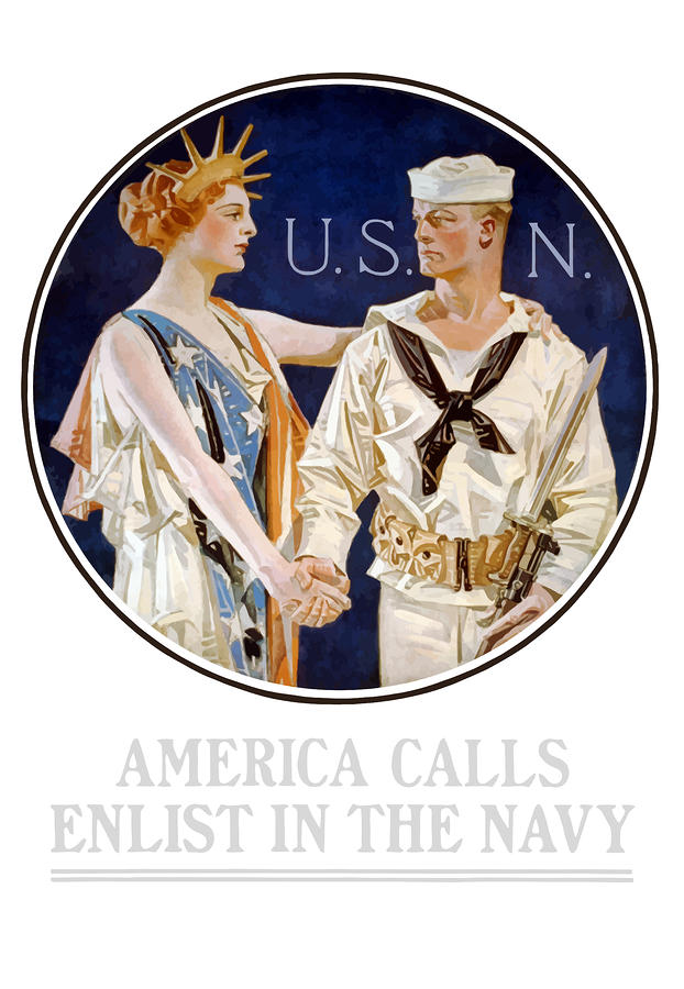 America Calls Enlist In The Navy Painting  - America Calls Enlist In The Navy Fine Art Print
