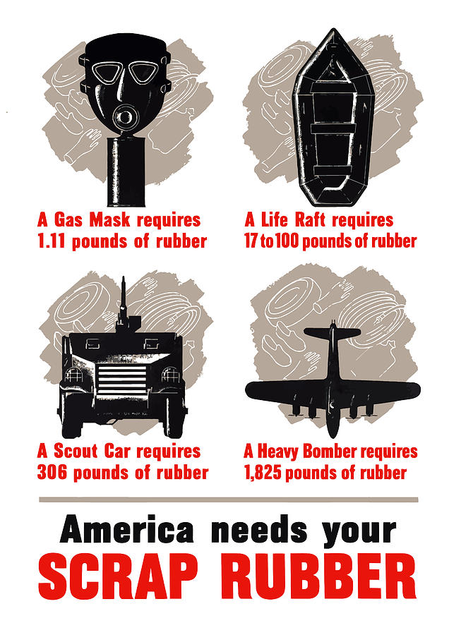 America Needs Your Scrap Rubber Painting  - America Needs Your Scrap Rubber Fine Art Print