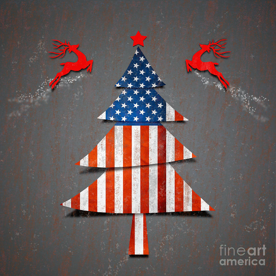 America Xmas Tree Digital Art  - America Xmas Tree Fine Art Print