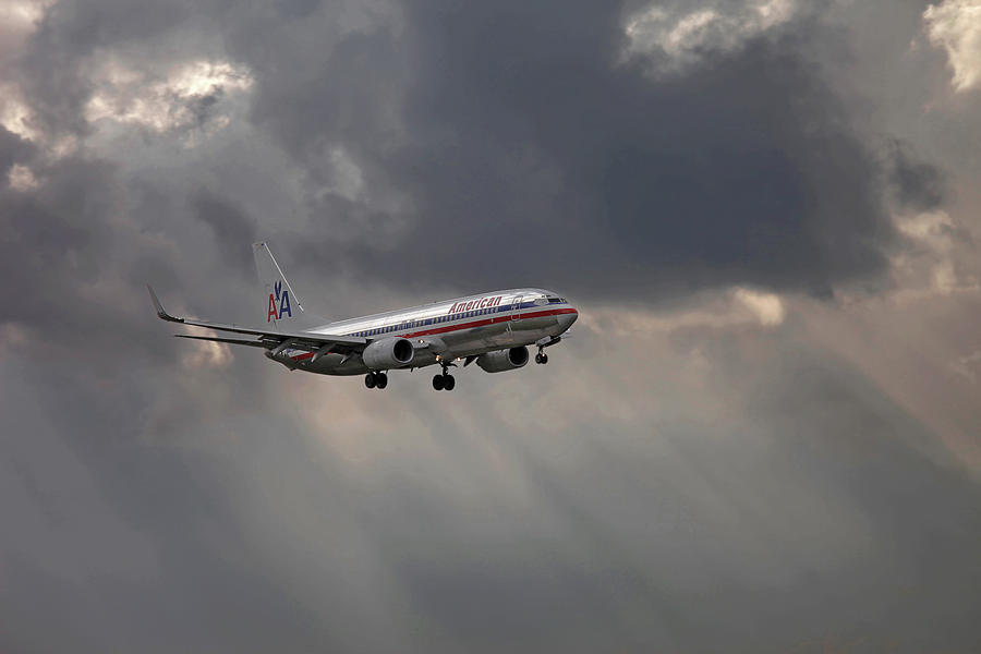 American Aircraft Landing After The Rain. Miami. Fl. Usa Photograph