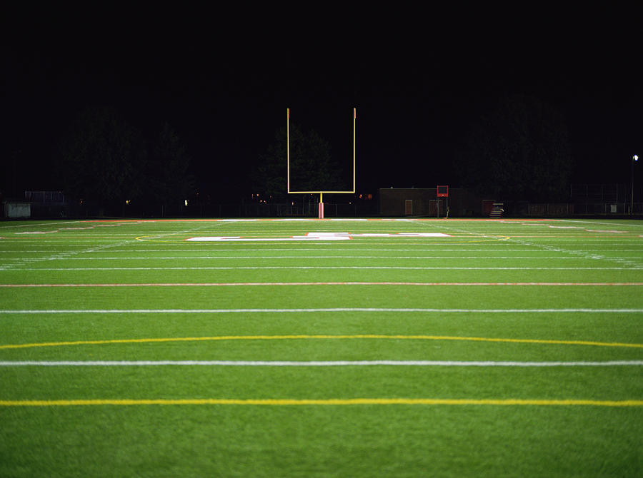American Football Field At Night Photograph