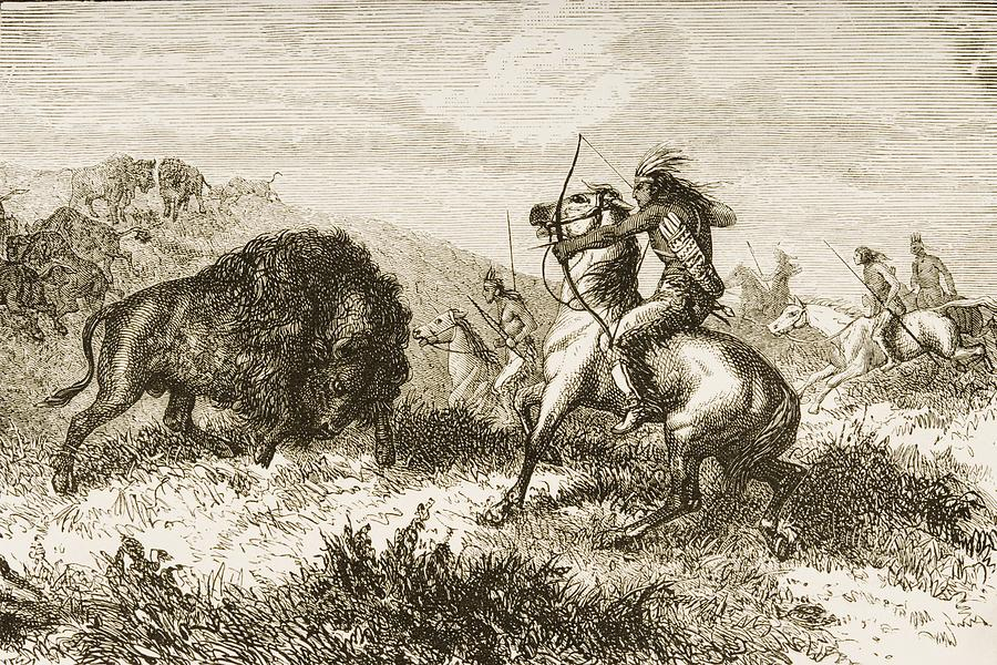 American Indians Buffalo Hunting. From Photograph
