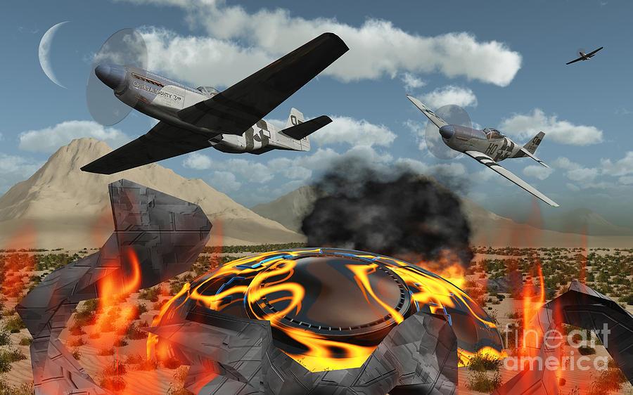 American P-51 Mustang Fighter Planes Digital Art