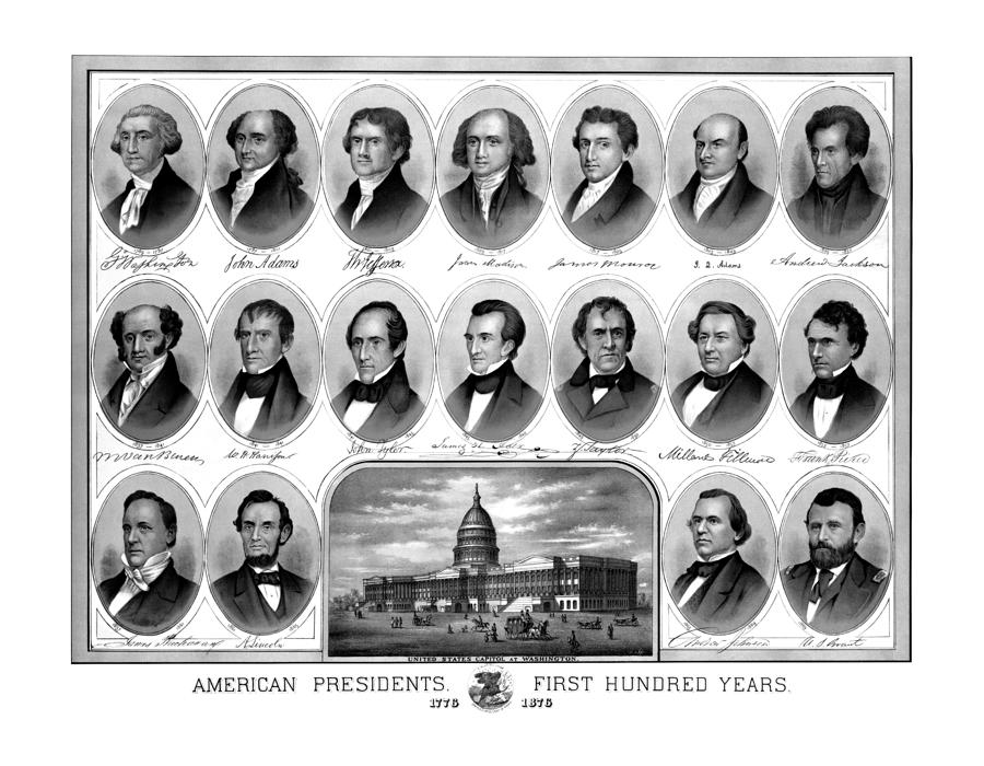 American Presidents First Hundred Years Drawing  - American Presidents First Hundred Years Fine Art Print