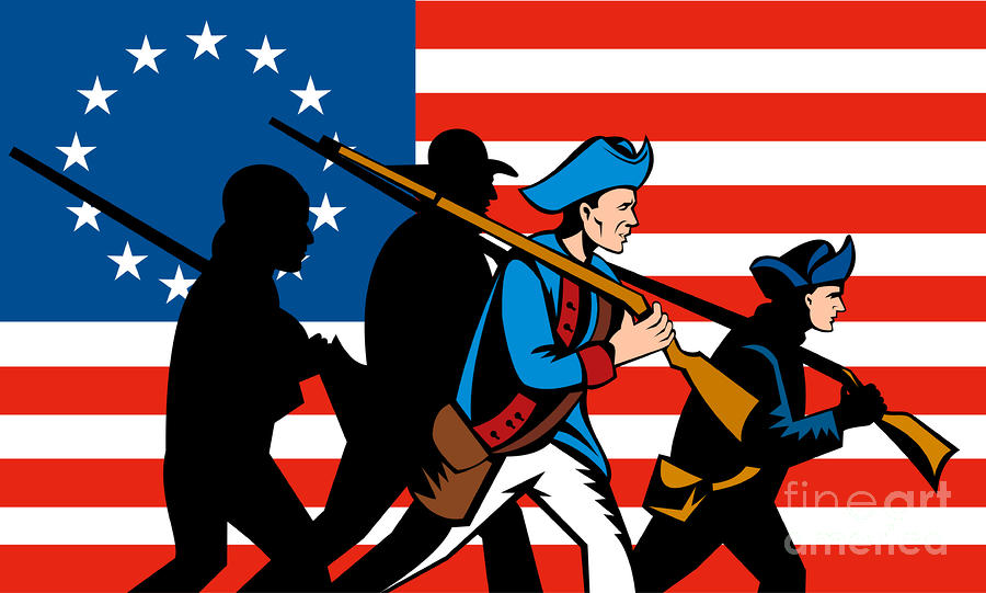 American Revolutionary Soldier Marching Digital Art
