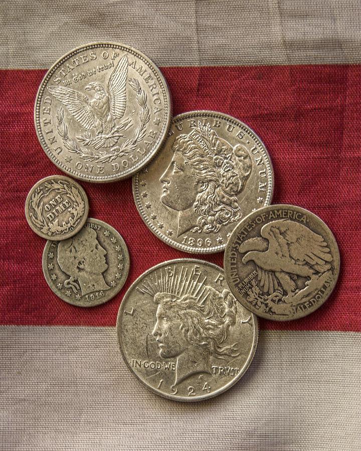 American Silver Coins Photograph