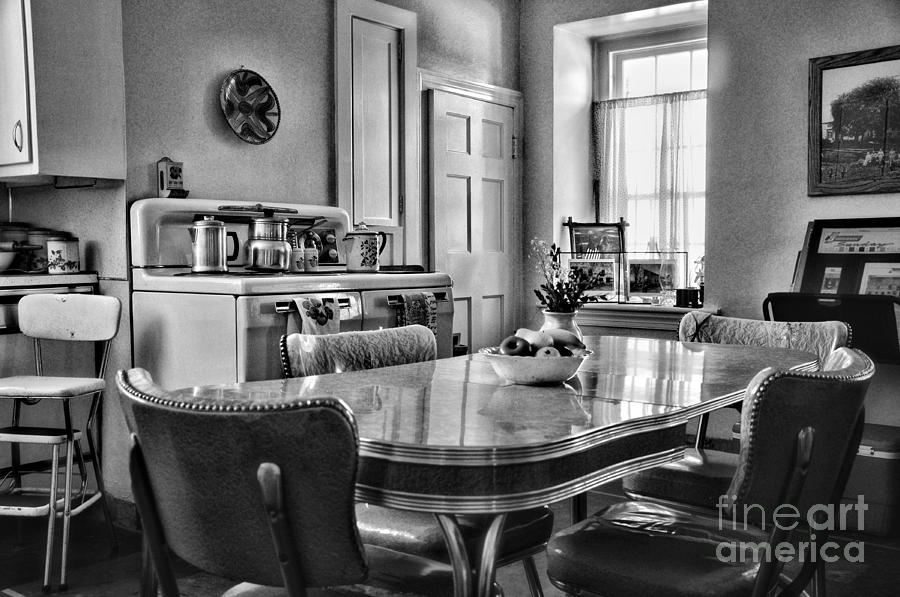 Americana - 1950 Kitchen - 1950s - Retro Kitchen Black And White Photograph  - Americana - 1950 Kitchen - 1950s - Retro Kitchen Black And White Fine Art Print