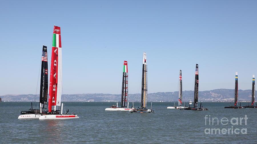 Americas Cup Sailboats In San Francisco - 5d18205 Photograph