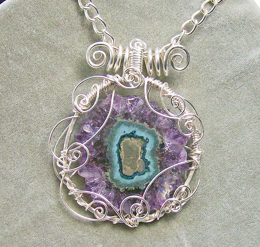 Wire Jewelry - Amethyst Stalactite Slice And Silver Scribble Pendant by Heather Jordan
