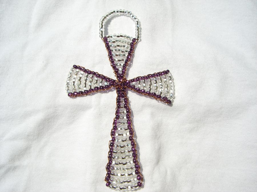 Amethyst Wall Hanging Glass Beaded Suncatcher Copper Cross Sculpture