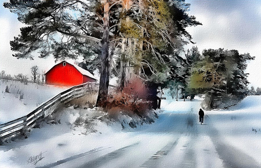 Amish Boy On Bike Digital Art